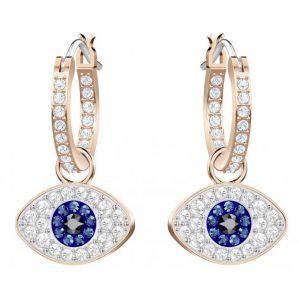 Swarovski Boucles d'oreilles Bijoux 5425857 - Acier Doré Rose Cristaux Yeux Bleux Femme