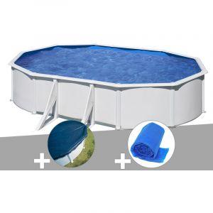 Gre Kit piscine acier blanc Wet ovale 6,34 x 3,99 x 1,22 m + Bâche hiver + Bâche à bulles