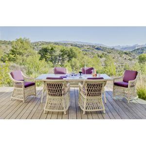 Nabab Atlanta M6 - Ensemble de jardin table + 6 chaises avec coussin