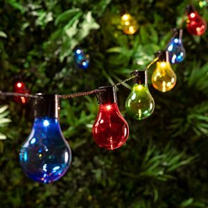 Image de Lights4Fun Guirlande Lumineuse Guinguette avec 20 Boules LED Multicolores pour Intérieur/Extérieur par