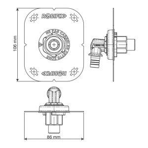 Watts Industries Sortie de cloison Robifix + monotrou à glissement - Ø 16 mm - F 1/2'