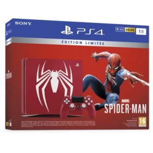 Sony Console PS 4 Slim 1 To Rouge + Manette DualShock Edition Spéciale Marvels Spider-man
