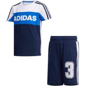 Adidas Survêtements Little Kid Summer Set - White / Collegiate Navy - Taille 110 cm