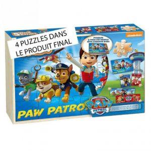Spin Master Boîte 4 puzzles en bois Pat'Patrouille