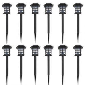 VidaXL Borne solaire extérieure LED 12 pcs avec piquet 8,6 x 38 cm
