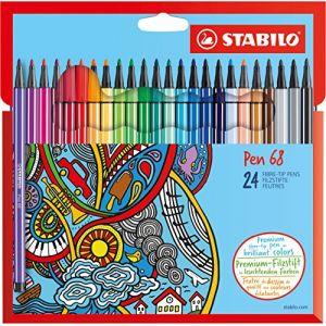 Stabilo Pen 68 - Étui carton de 24 feutres pointe moyenne assortis