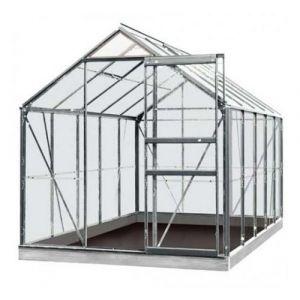 ACD Serre de jardin en verre trempé Lily - 6,20m², Couleur Gris, Base Avec base - longueur : 3m19