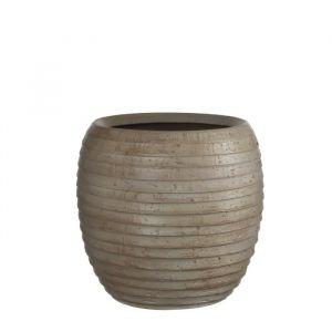 MICA Vase rond Lloyd - Taupe - Hauteur: 33cm - Diamètre: 29cm