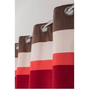 Rideau à Oeillets 140 x 240 cm à Rayures Horizontales Multicolores Effet Satinées et Chenille Rouge Rouge
