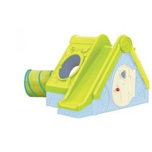 Keter Kids Funtivity - Maisonnette et aire de jeux enfant avec tunnel, toboggan, cachette