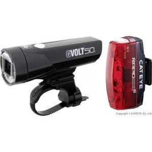 Cateye GVolt 50 HL-EL550GRC + Rapid Micro G Hl-EL620G Set - Kit éclairage vélo - noir Sets de lampes