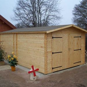 Foresta Dorna DO 3554 - Garage en bois avec portes battantes 17,19 m2