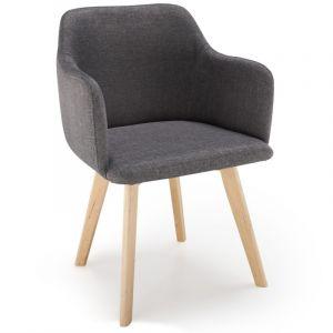 LesTendances Chaise Style Scandinave Tissu Gris Foncé SAGA