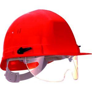 Taliaplast 564516 - Casque de chantier avec lunette escamotable rouge