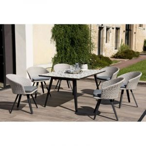 """Table & 6 Fauteuils de Jardin """"Koni"""" 162cm Gris Prix"""