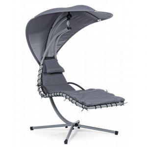 Pegane Chaise longue coloris gris fonc? - Dim : L 110 x P 185 x H 200 cm
