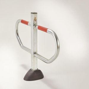 Mottez Barrière de parking rabattable mono pied en acier Ø 5 cm B298C