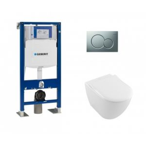 Geberit Pack UP320 + Cuvette VILLEROY ET BOCH Subway 2.0 + plaque Sigma Chromé Mat