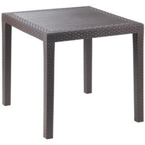 Progarden Table carrée en résine tressée - moka - Table, Meuble de jardin