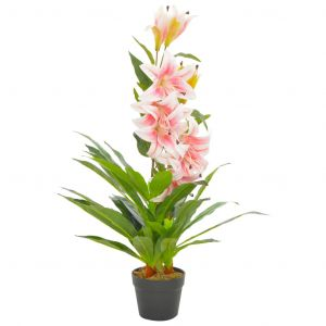 VidaXL Plante artificielle Lys avec pot Rose 90 cm
