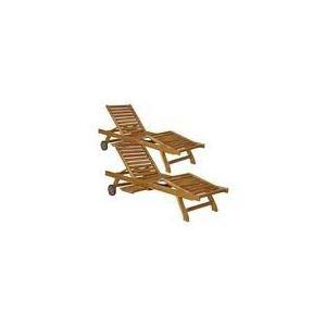 2 bains de soleil / chaises longue en teck huilé