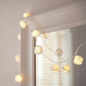 Lights4Fun Guirlande Lumineuse à Piles avec 20 Fleurs Blanches à LED Blanches Chaudes