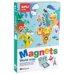 APLI 16494 - Jeu de magnets Mappemonde, 40 pièces