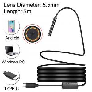 WeWoo Endoscope numérique USB-C / Type-C imperméable serpent caméra d inspection de tube avec 8 LED et adaptateur USB, longueur: 5 m, diamètre de l objectif: 5,5 mm