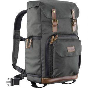 Mantona Luis photo rétro sac à dos en cuir véritable avec applications (pour 1appareil photo reflex, 3Objectifs et divers accessoires photo) Vert