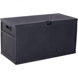Outsunny Coffre malle de rangement dim. 120L x 61l x 63H cm résine tressée imitation rotin noir