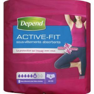 Depend Sous-vêtements Active-Fit - Femme taille L - Paquet de 8 x4