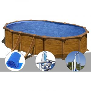 Gre Kit piscine acier aspect bois Mauritius ovale 5,27 x 3,27 x 1,32 m + Bâche à bulles + Kit d'entretien + Douche