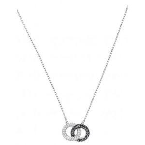 Swarovski Collier et pendentif Bijoux 5445706 - Acier Argenté et Noir Cristaux Femme
