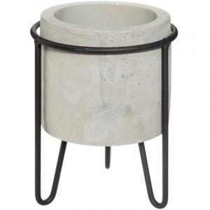 """Image de Cache-Pot en Ciment sur Pied """"Oléa"""" 15cm Gris"""