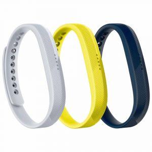 Fitbit Pièces détachées Flex 2 Sport Bands 3-pack - Navy / Gray / Yellow - Taille L
