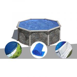 Gre Kit piscine acier aspect pierre Cerdeña ronde 3,70 x 1,22 m + Bâche hiver + Bâche à bulles + Tapis de sol