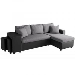 Canapé d'angle convertible gris foncé et simili cuir noir OSLO Angle du canapé À Droite