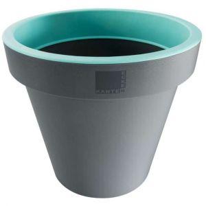 Provence Outillage Pot de fleurs rond Vert / Gris Diamètre : 35 cm Hauteur : 31 cm - ECKEN KANTEN