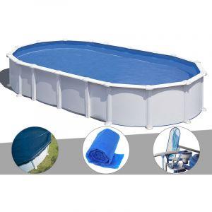 Gre Kit piscine acier blanc Atlantis ovale 8,15 x 4,90 x 1,32 m + Bâche hiver + Bâche à bulles + Kit d'entretien