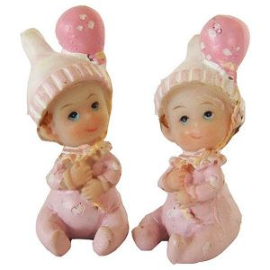 2 figurines en résine Bébé Filles
