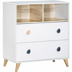 Sauthon Oslo boutons goutte - Commode 2 tiroirs et 2 niches