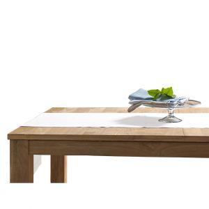 Blanc Cerise Chemin de table blanc - lin déperlant - uni, brodé 50x180 cm Blanc