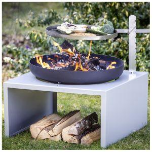 Braséro/barbecue acier et fonte gris/noir 58x58x40cm