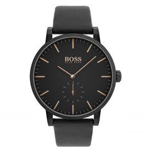 Hugo Boss Montre 1513768 - essence boitier acier plaqué ionique noir cadran noir bracelet cuir noir Homme