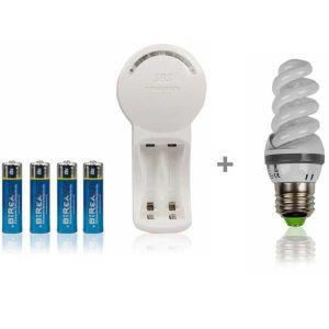 Chargeur universel + 4 piles + ampoule