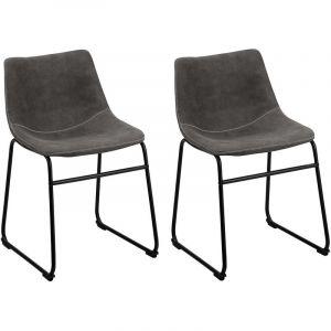 Beliani 2 chaises de bar en tissu gris BATAVIA