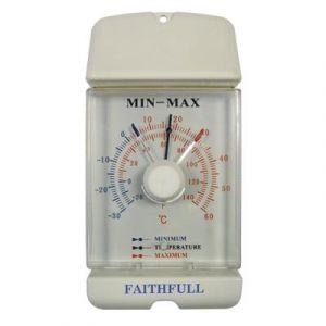 Faithfull Thermometres interieur / exterieur a memoire, Température - 30 à + 60° Celsius, dim. 80 x 160 mm