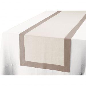 Blanc Cerise Délices - Chemin de table en lin (50 x 200 cm)