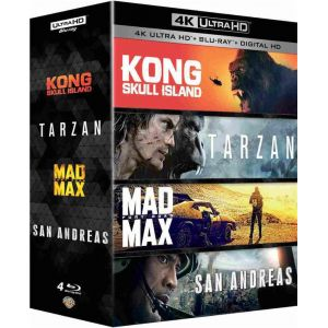 Kong : Skull Island + Tarzan + Mad Max : Fury Road + San Andreas - Coffret 4k Ultra HD