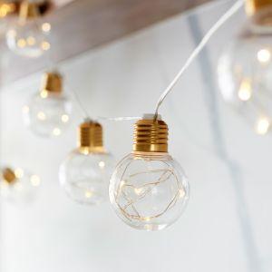 Lights4Fun Guirlande Lumineuse Guinguette en Laiton avec 10 Globes à Micro LED Blanc Chaud à Piles